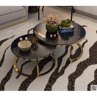茶几简约现代创意圆形小户型家用客厅大理石轻奢茶几电视柜组合
