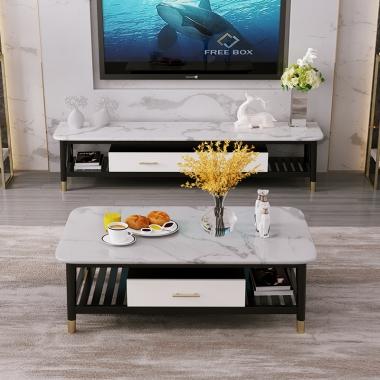 轻奢大理石茶几电视柜组合北欧实木桌子长方形小户型客厅现代简约