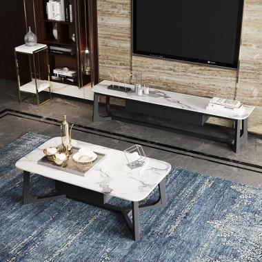 北欧大理石茶几客厅小户型桌子简约现代实木电视柜组合北欧风茶桌