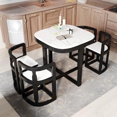 实木餐桌家用小户型方桌简约现代餐桌椅组合北欧正方形大理石饭桌
