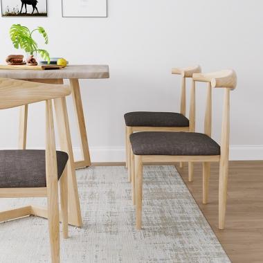 北欧风椅子现代简约凳子家用靠背椅北欧餐椅牛角椅咖啡厅桌椅组合