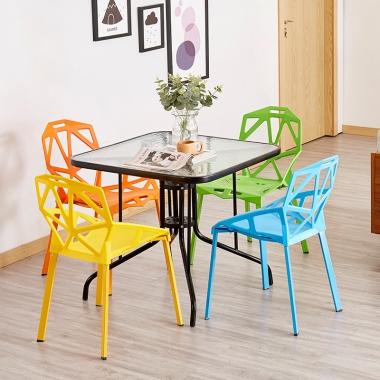椅子靠背家用现代简约塑料个性艺术奶茶店桌椅北欧餐桌餐椅 ins风