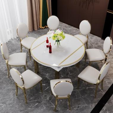 轻奢餐桌可变圆桌家用多功能餐桌椅组合折叠可伸缩桌子后现代简约