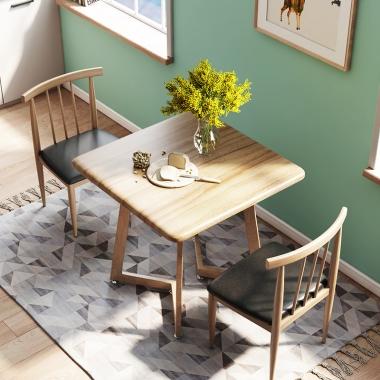 北欧风餐桌椅组合现代简约方桌2人4家用吃饭桌子小户型北欧歺桌椅