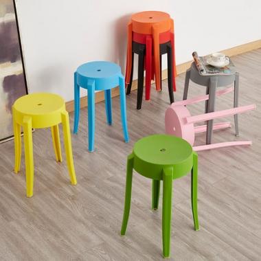 圆凳子家用时尚创意塑料椅子加厚成人客厅小板凳餐厅简约高餐桌凳
