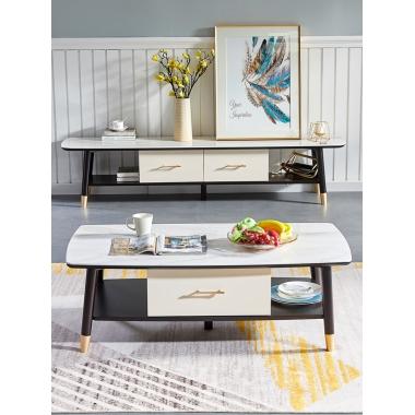 轻奢大理石茶几电视柜组合北欧实木现代简约小户型客厅伸缩影视柜