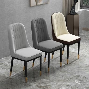 北欧风轻奢餐椅家用现代简约ins网红靠背凳子简易后现代铁艺椅子
