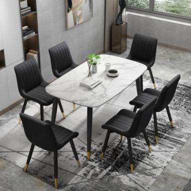 北欧大理石餐桌家用小户型轻奢餐桌椅组合后现代简约长方形饭桌子