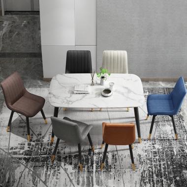 大理石餐桌家用小户型轻奢北欧餐桌椅组合现代铁艺长方形吃饭桌子