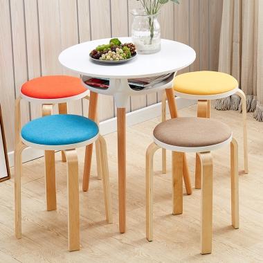 圆凳子时尚创意实木客厅小椅子家用简约现代布艺餐桌板凳成人餐椅