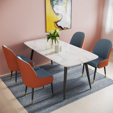 北欧大理石餐桌长方形轻奢风桌子家用后现代简约小户型餐桌椅组合