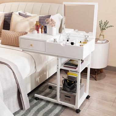 可移动梳妆台网红ins风女卧室现代简约小户型简易化妆桌经济型