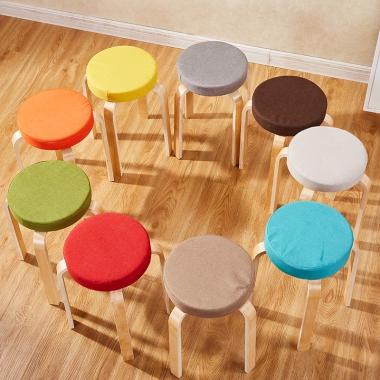 实木凳子简约现代小板凳家用加厚时尚圆凳简易成人创意客厅餐桌凳