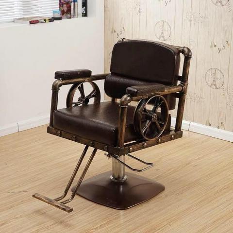 复古剪发椅铁艺美发理发椅子发廊专用脚踏可升降理发椅美容美发椅