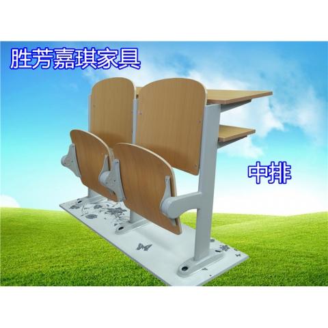 【嘉琪家具】硬板阶梯教室座椅课桌椅 自重回弹双层桌面 阶梯教室排椅