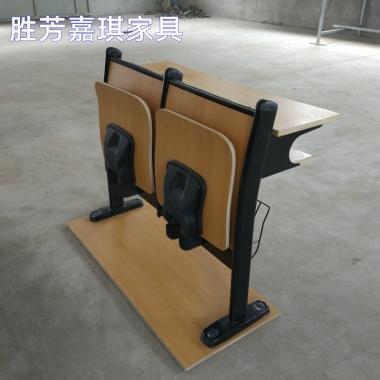 【嘉琪家具】厂家直供中间回弹阶梯教室排椅 礼堂椅 会议室联排椅 课桌椅