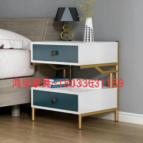 胜芳家具批发 轻奢床头柜 创意床头柜 储物柜 收纳柜 简约床头柜 中式储物柜 卧室家具 鸿宇家具