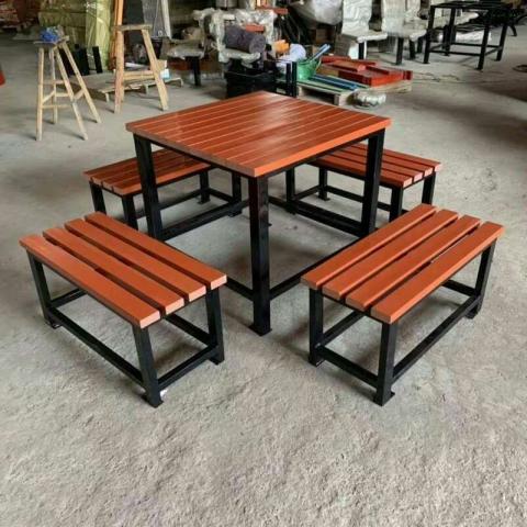 胜芳桌椅批发 塑木户外桌椅 桌椅组合 木条桌椅 长桌长凳 户外圆桌 户外椅子 扶手椅 户外家具 博涵家具