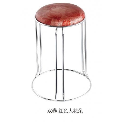胜芳批发  双卷 圆凳子   不锈钢 实心架 五金 换鞋餐凳  网红  现代简约 家用  梦阳家具