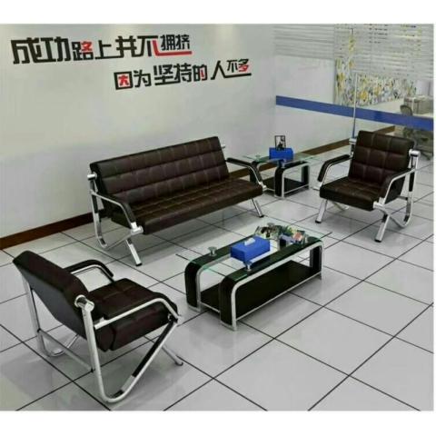 胜芳办公椅批发  商务 办公沙发 简约 简易 办公沙发 会客接待室 小型 单人 不锈钢 三人位 时尚铁艺 沙发茶几组合  群逸家具