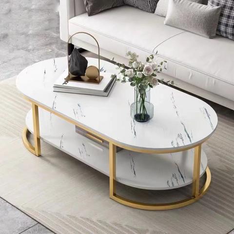 胜芳茶几批发 不锈钢 岩板 板式 茶几 简约现代北欧 茶桌 家用 小户型 客厅 圆形桌子 高低组合 创意小茶台  长兴源家具