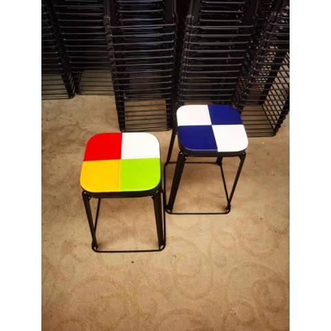 胜芳铁架铁腿凳子批发 方凳 四腿凳子 铁皮凳 钢筋凳 套凳 圆凳 简易家具 意美佳家具