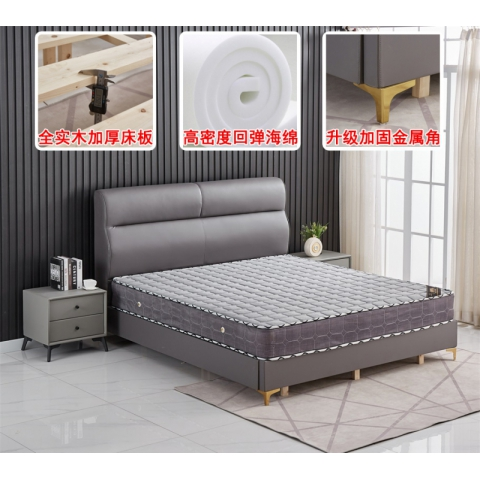 胜芳床铺批发 软包床 软体家具 轻奢床 卧室家具 床垫 布艺软床 双人床 皮革软床 何强家居