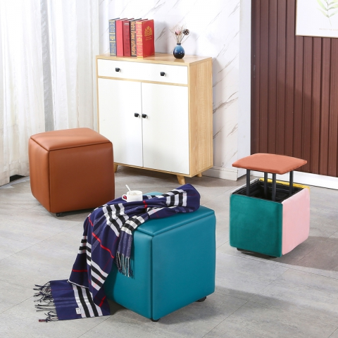 胜芳凳子批发 魔方凳 网红凳 多功能可折叠 组合凳子 现代客厅家具 收纳凳 轮滑换鞋凳 创意五合一 君杰家具