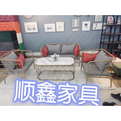 胜芳批发 沙发椅批发   北欧铁艺 沙发 服装店 小沙发 工业风 现代简约 工作室 ins网红沙发椅  领亿家具