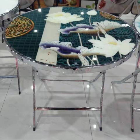 胜芳折叠桌批发 3D玻璃面饭桌 餐桌 家用简易圆桌 轻奢圆桌 轻奢方桌 吃饭桌 户外便携摆摊折叠桌 租房小户型方桌子 玻璃桌 玉振家具