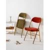 网红软包折叠椅家用休闲铁艺餐椅服装店ins拍照凳子靠背