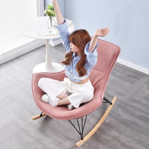 胜芳龙虾椅批发 网红摇摇椅 懒人沙发 单人沙发椅 网红软包椅 轻奢摇椅 懒人家具 广伟家具批发