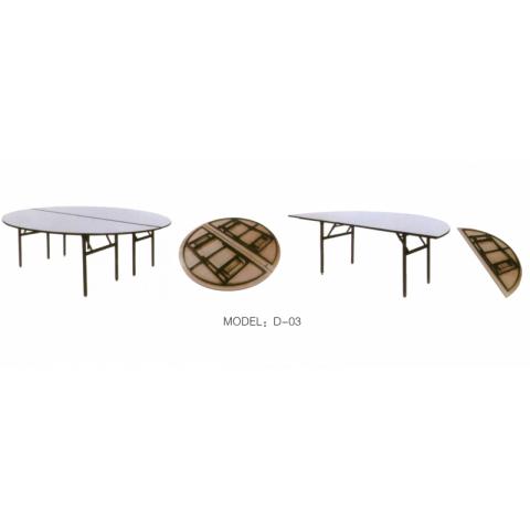胜芳酒店家具批发 可收折叠圆桌 餐桌家用 半圆形桌 组合桌 圆桌面餐桌 吃饭桌 拆叠桌子 宏达酒店家具