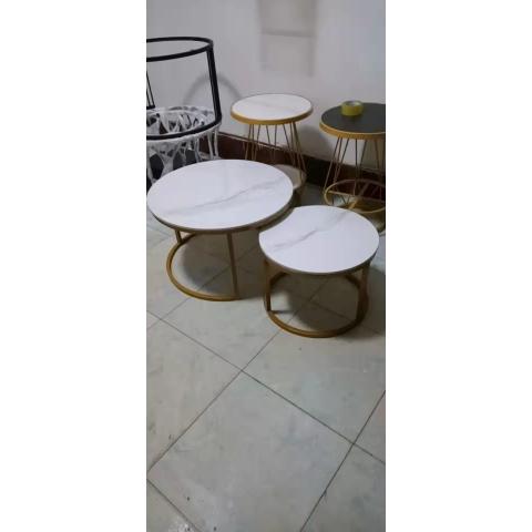胜芳茶几批发 不锈钢  铁艺  岩板 板式  茶几 简约现代北欧 茶桌 家用 小户型 客厅 圆形桌子 高低组合 创意小茶台  鑫尚亿家具
